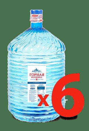 Питьевая вода Горная Вершина 19 литров одноразовая тара - 6 бутылей